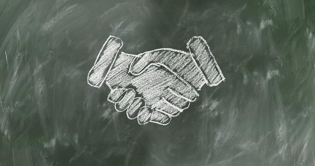 Chalkboard Shaking Hands